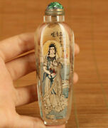 Antique Natural Crystal Hand Inside Painting Purdue Guanyin Statue Snuff Bottle