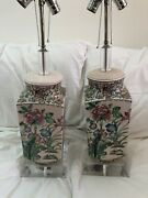 Pair 28.5andrdquo Hand Painted Chinese Rose Famille Porcelain Lamps On Lucite Bases