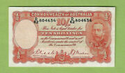 D490. 1936 Riddle / Sheehan 10 Shilling Paper Banknote D62 804636