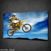 High Flyer Motorbike Rider Sport Modern Canvas Print Art Picture Ready To Hang