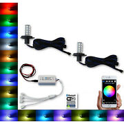 H4 27 Smd Rgb Multi-color Changing Shift Led Fog Light Bluetooth Pair For Jeep