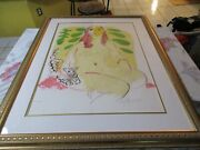 Wayne Ensrud Lady With Cat Limited Edition 85/100 Signed Serigraph Print Framed