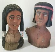 Vintage New Mexico Wood Carved Folk Art American Indian Set Male Female 16 Tall