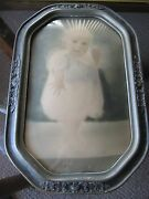Vintage Beveled Bubble Glass Octagonal Wooden Frame With 1928 Picture