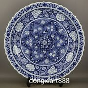 Chinese Blue White Porcelain Pottery Lotus Peony Flower Plates Tray Dish Salver