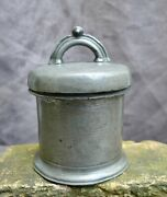Nice Antique Pewter Butter Pot Marked With I. Huisia Mark, Dutch 19th. Century