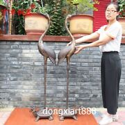 Chinese Bronze Dragon Turtle Tortoise Red-crowned Crane Fengshui Animal Statue