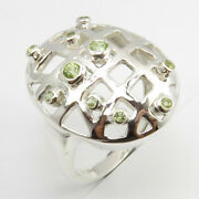 Natural Peridot Ring Size 7.25 925 Solid Sterling Silver Cheapest Shipping