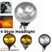Dc 12v Vintage Round Motorcycle Head Light For Motorbike Scooter Chopper 4styles