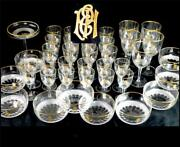 N982 40 Piece Suite Of Fine Glass With Gilt Monogram Royal Pattern Moser