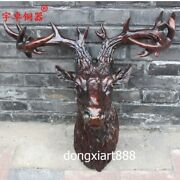 53 Cm Western Art Deco Bronze Reindeer Mi-lu Deer Head Elk Wapiti Wall Sculpture