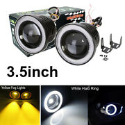 2x 3.5inch Yellow Led Fog Light With White Angel Eyes Halo Ring Drl For Car Suv