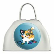 Calico Kitten With Cat Toys White Metal Cowbell Cow Bell Instrument