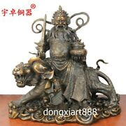 40 Cm China Bronze God Of Wealth Fortune Zhao Gongming Mammon Ride Tiger Statue