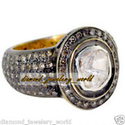 Vintage Style 2.90ct Real Rose Solitaire Antique Cut Diamond Silver Ring Jewelry