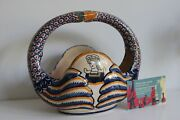 Henriot Quimper 1920 - 30 Swan Jardiniere French Basket Hand Painted Pottery
