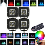 4x 3inch Led Work Light 4d Lens 3x3 Pods With Rgb Halo Kit For Atv 4x4 Boat Ute
