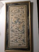 Old Chinese Silk Embroidery Forbidden Stitch Embroidered Panel Framed-antique