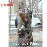 60 Cm Bronze Chinese Zodiac Animal Wealth Chook Chicken Rooster Family Sculpture