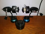 Lot Of 2- Vintage Garcia Mitchell 300 And 301c Spinning Reels With Mepps Lures.