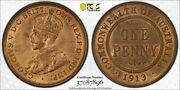 1913 Australia Penny Pcgs Ms64rb - Choice Uncirculated