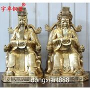57 Cm Chinese Brass Myths Legends Heaven Lived Jade Emperor Queen Mother Statue