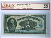 Can-nf-dollar Note 1920 Grade Vf-20 By Bcs....cat2000