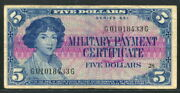 Usa 1961 Military Payment Series 591 5 Dollar G01018433g M48 F-vf