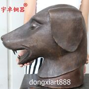 39 Cm Bronze Copper Chinese Zodiac Animal Lucky Dog Head Amulet Bust Sculpture