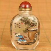 Unique Natural Crystal Hand Painting Historical Allusions Statue Snuff Bottle