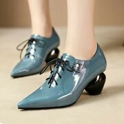 Womens New Fashion Patent Leather Pointed Toe Mid Heel Lace Up Court Shoes Esig