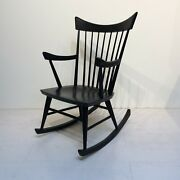 Mid-century Modern Black Rocking Chair In The Style Of Edmond Spence