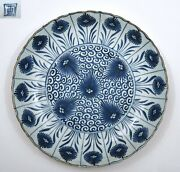 16th Century Chinese Ming Blue And White Porcelain Plate Flowers Marked 27 Cm