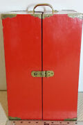 Vintage Chinese Red Lacquer Wood Jewelry / Doll Trunk Box Chest Brass Hardware.
