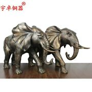 Chinese Bronze Woolly Mammoth Elephant Auspicious Wealth Fengshui Animal Statue