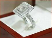 2.39 Ct Princess Cut Diamond Double Halo Engagement Cocktail Ring Party Gift