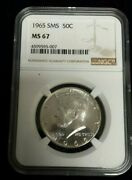 1965 Kennedy Half Dollar Coin - Ngc Ms67 Sms - Special Mint Set
