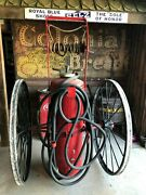 Rare Early Antique High Wheeled Ajax Chemical Fire Engine Extinguisher Man Power