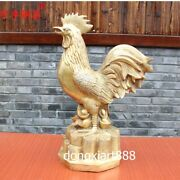 69 Cm Copper Brass Chinese Zodiac Animal Wealth Cock Rooster Chanticleer Statue