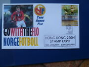 2004 Hong Kong Stamp Expo Official Norge Postmark Stamp Fdc Flo Football