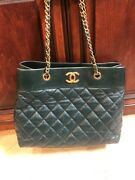 Authentic 2017 Large Shopping Tote Bag Dark Green Leather- Original Tags