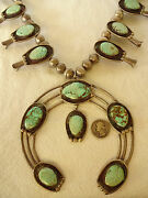 Enormous Vintage Navajo Sterling Silver And Turquoise Squash Blossom Necklace 369g