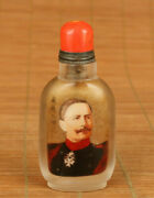 Chinese Old Natural Crystal Hand Painting World's Great Man Statue Snuff Bottle