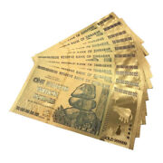 100 Zimbabwe Trillion Banknote Gold Bill World Money Value Collection Gift Aw