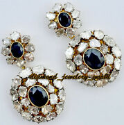 Victorian 5.62cts Antique Cut Diamond Sapphire Studded Silver Earring Jewelery