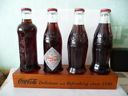 4x Coca Cola Bottles Wooden Stand Collection Display Limited Edition 1886