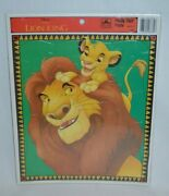 New Vintage Disney The Lion King Mufasa And Simba Golden Frame Tray Puzzle 16pcs