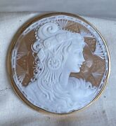 Large Vintage Retro 14k Gold Shell Cameo Dancer Pendant Pin Brooch 1970and039s
