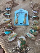 Ribbon Turquoise And Sterling Silver Necklace And Earring Set Stamped And Signed