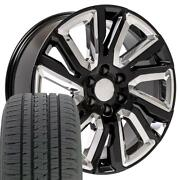 Cp 22 Wheels And Tires Fit Chevy Gm Cadillac High Country Black W/chrome Bda